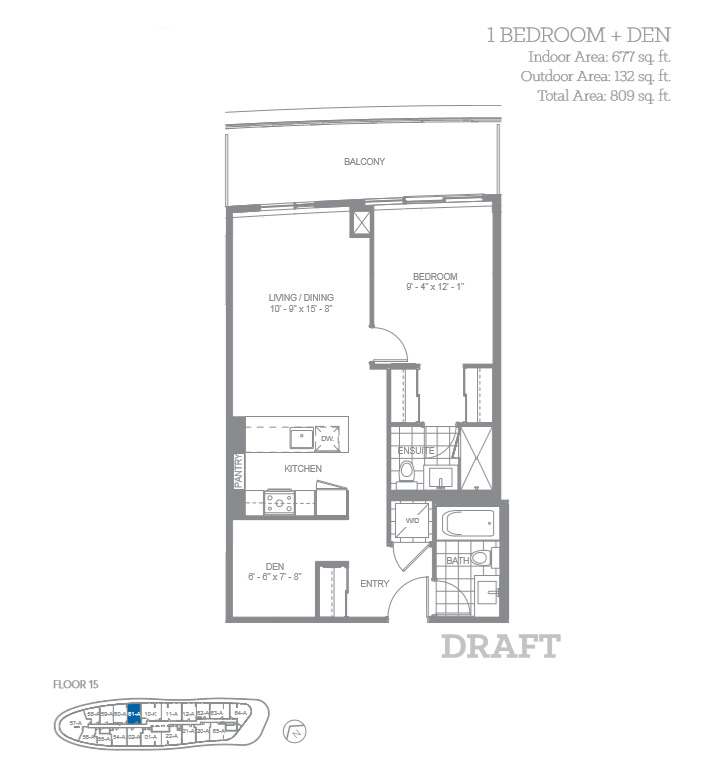 The Cadet 1 Bedroom + Den Floor Plan, Daniels Arc Condos