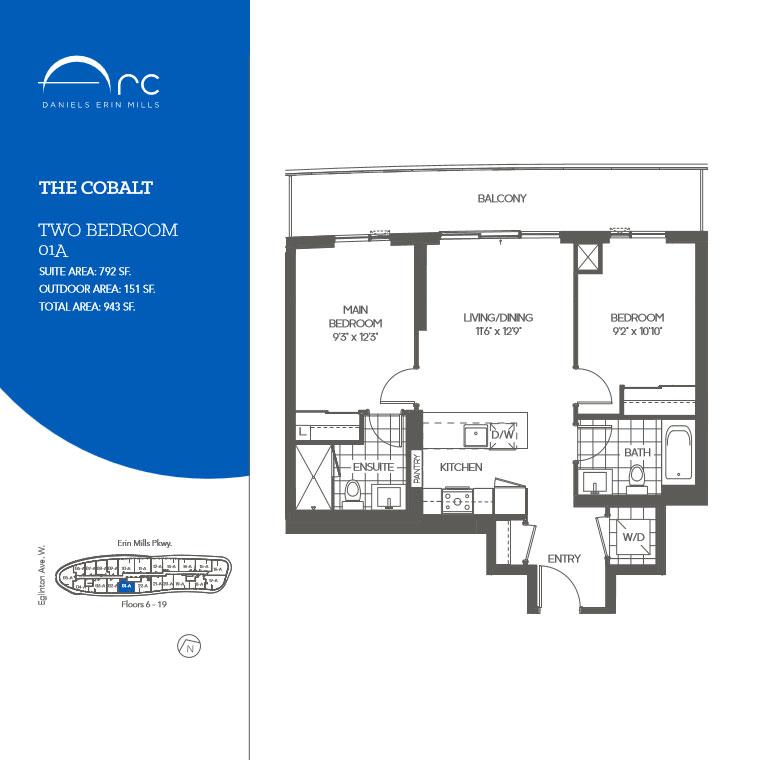 The cobalt 2 bedroom floor plan daniels arc condos for Condo floor plans 2 bedroom