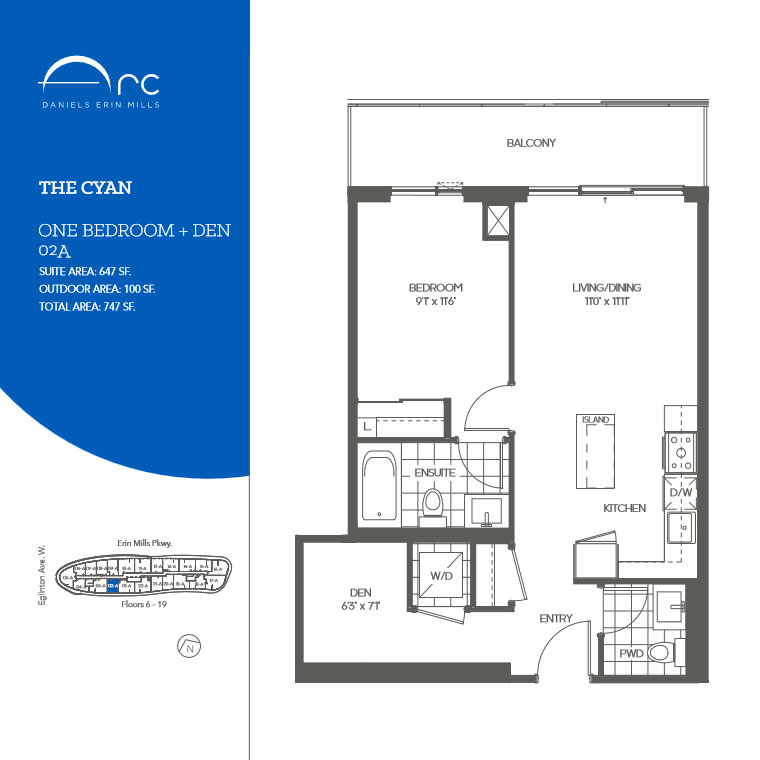 The Cyan 1 Bedroom + Den Floor Plan, Daniels Arc Condos
