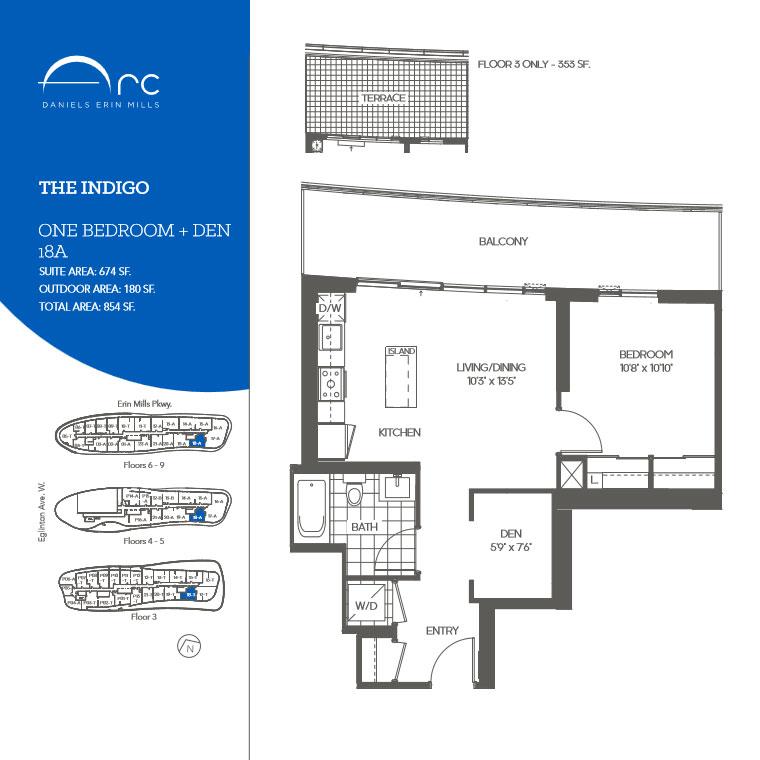 Daniels Arc Condos One Bedroom + Den Floor Plans
