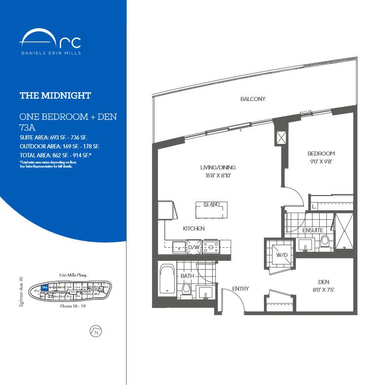 The Midnight 1 Bedroom + Den Floor Plan, Daniels Arc Condos