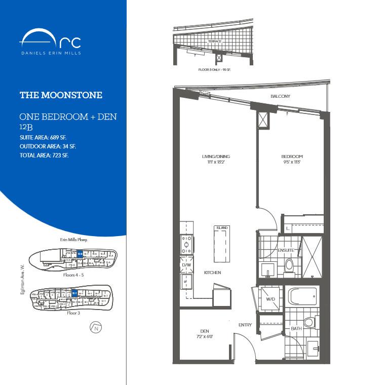The Moonstone 1 Bedroom + Den Floor Plan, Daniels Arc Condos