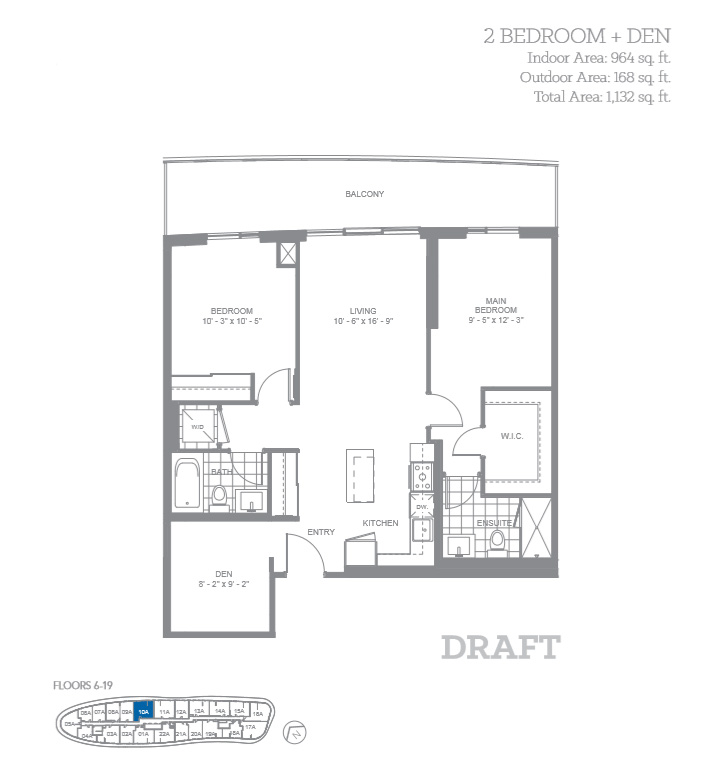The silver 2 bedroom den floor plan daniels arc condos for 2 bedroom with den
