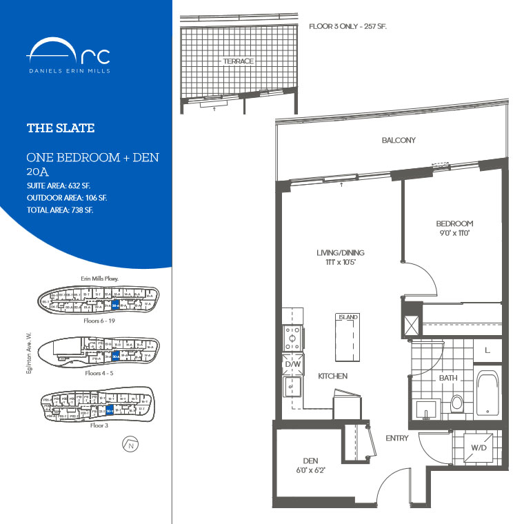 The Slate 1 Bedroom + Den Floor Plan, Daniels Arc Condos