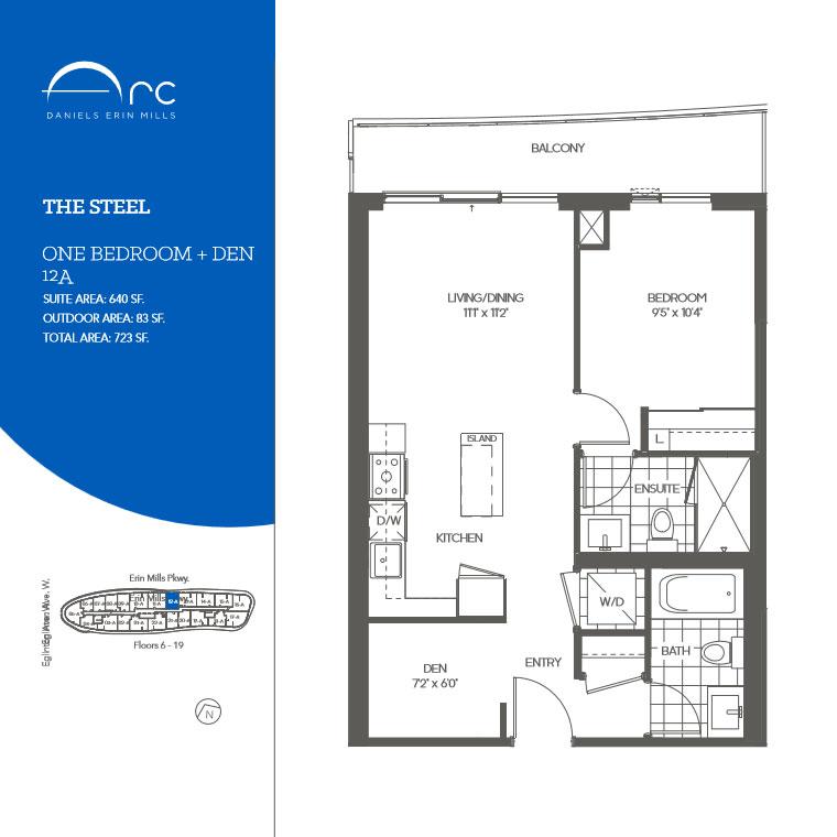 The Steel 1 Bedroom + Den Floor Plan, Daniels Arc Condos